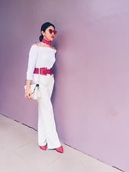 Cassey Cakes - Zara Offshoulder Top, Dorothy Perkins Belt, Mango Wide Leg Trousers - Pastel Wall