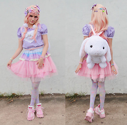 Magical Jillian - Rongi Shop Pastel Goth Cat Pixel Art Botton, Holley Tea Time Fairy Kei Skirt - Pastel Cute Decora Kei
