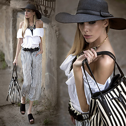 Dora D. - Ruffle Off The Shoulder White Top, Black And White Striped Culottes, Moow Black Leather Platform Clogs - Walk in the old town