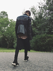 M Appelberg - Rick Owens Jean & Leather Jacket, Rick Owens Tank Top, Filippa K Turtle Neck, Rick Owens Knitted Wool Shorts, Rick Owens X Adidas Sneakers - Summer gone missing
