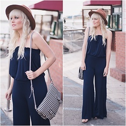 Kari Jane Ballesteros - Heavenly Couture Blue Jumpsuit, Forever 21 Striped Messenger Bag, Target Brown Hat - Heavenly Couture
