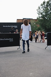 Richy Koll - Dr. Martens Oxfords, Nike Socks, Dr. Denim Jeans, Blood Brother Tee - Mercedes Benz FashionWeek day 3