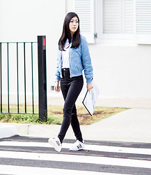 Isabel Z - Snupped Marble Laptop Case, Adidas Superstar Sneakers, Local Boutique Store Quilted Bomber - Long walks