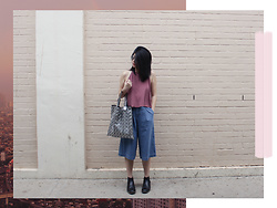 Melisa A - Monki Halter Neck Top, Uniqlo Denim Culotte, Marc & Stuart Ankle Boots, Monki Sunnies, Issey Miyake Bao Bao - PINK SKIES