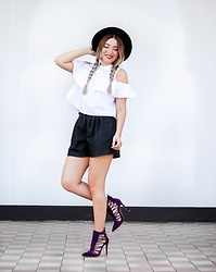 Andreea Ristea - Romwe White Open Shoulder Ruffle Shirt, Zara Black Fake Leather Shorts, Ami Club Wear Purple Shoes, Romwe Black Hat - Purple shoes