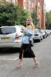 Iam Chouquette - Stella Mccartney Elisha Wool Skirt, Stella Mccartney Falabella Mini Denim Shoulder Bag, Aquazzura Pompom Raffia Sandals, Missguided Choker, Zara Bardot Top, Rolex Daytona - Glamour Awards X NAP