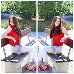 Mihaela Berezantev - Suiteblanco Red High Neck Sleeveless Top, Zara White Trousers, New Look Red Heels - Red & White