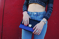 Nomadic Heels - Alexander Wang Crop Top, Cartier Watch, Cartier Ring, Celine Bag, Forever 21 Jeans - Close Up on the Details