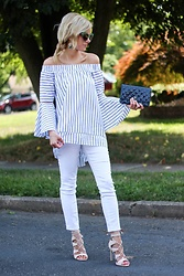 Kim Tuttle - Steve Madden Sandalia, Kind Of White Denim, Make Me Chic Bell Sleeve Top, Chanel Wallet - Bell sleeves