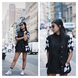 Jenny Ruan - Urban Outfitters Dress, Thrifted Short Sleeved Jacket, Urban Outfitters Sunglasses - Black and white