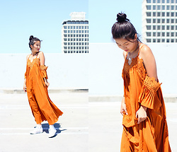 Angelina - Dezzal Orange Crochet Trim Maxi Dress, Converse Optic White High Tops - A spinning carrot!