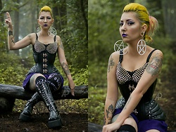 Yaz Ugalde - Restyle Faux Leather Corset, Demonia Shoes Platform Boots, Killstar Quija Sock - Baphomet Style