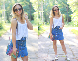 Wioletta Mary Kate - Sammydress Skirt, Sammydress Bag, Zaful Shoes - Multicolor Bag & Denim Skirt