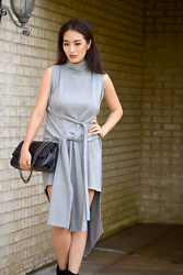 Kimberly Kong - Asos Asymmetric Rib Dress, Bag Inc Quilted Crossbody - The Asymmetric Rib Dress
