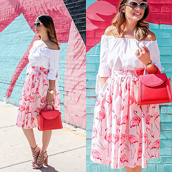 Jenn Lake - Partyskirts Pink Flamingo Skrit, Freepeople White Off The Shoulder Top, Kate Spade Cobble Hill Small Adrien Bag, Steve Madden Tan Suede Skales Sandals, Kate Spade White Raelyn Sunglasses, Kate Spade Montery Watch - Pink Flamingo Skirt