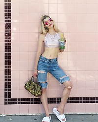 Dani Mikaela McGowan - American Apparel Pink Halter, Asos Denim Shorts, Puma Fenty Slides, Dolce & Gabbana Vintage Handbag - Tea Yes. You Maybe.