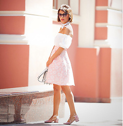 Galant-Girl Ellena - Choies Off The Shoulder Top, Chic Wish Midi Skirt, Mary Jane Shoes - Pink.