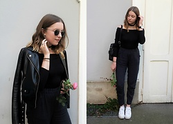 Astrid H - H&M Leather Jacket, H&M Shirt, Bik Bok Pants, Pull & Bear Sneakers - ROSE AND OFF THE SHOULDER