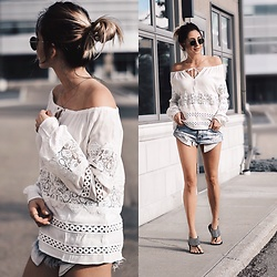 Amber - For Love & Lemons White Lace Long Sleeve Blouse, One Teaspoon Ripped Denim Shorts - Sun-kissed summer