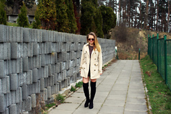Sandra Sasanja -  - Trench Coat + Over the Knee Boots