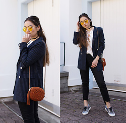 Romina Ch - La Redoute Blazer, Superga Sneakers, Gucci Bag, Zerouv Shades, Romwe Shirt - Wear it often