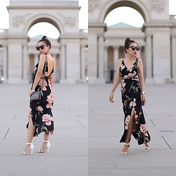 Sasa Zoe - Dress, Earrings, Sunglasses, Only $20 Bag, Sandals - THE MUST HAVE CUTOUT FLORAL MAXI