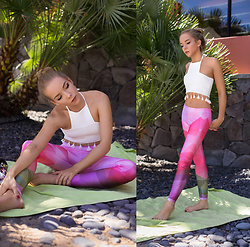 Silver Girl - Mr. Gugu & Miss Go Geometric Print Leggings, Mr. Gugu & Miss Go Print Sneakers - PALM TREES & YOGA