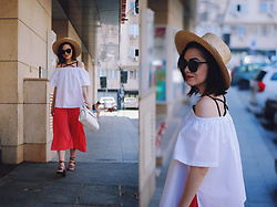 Andreea Birsan - Poppylovers White Off Shoulder Top, H&M Straw Hat, Zaful Sunglasses, Zara Pink Culottes, Zara Strappy Sandals, Vipme White Bag - Pink culottes & strappy sandals