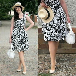 Caliope - Rosegal Floral Dress, Dorothy Perkins Cream Pumps, Coccinelle Handbag, H&M Straw Hat - Black and White Tea Dress