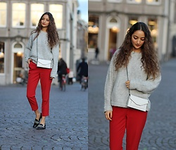 Ranim H. - River Island Grey Pullover, Asos Red Pants, Charles And Keith White Cross Over - Red Ciggis