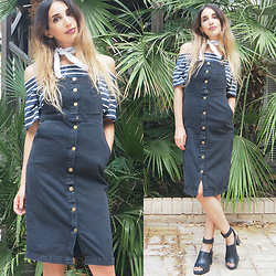 Karen Or - Twentyfourseven Pinafore Dress, Topshop Off The Shoulder Top - Button Down Pinafore Dress