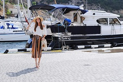 Yulia Sidorenko - Sammydress Cullote Pants, Mango Sandals, Dressin Frınge Bag, H&M Hat - Stripes on my cullotes
