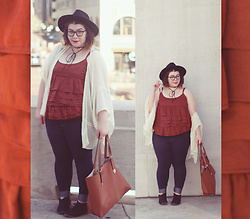 Katie - Forever 21 Wide Brim Fedora, Who What Wear Ruffle Tank, Thrifted Kimono, Jeans, Booties - Coppertone