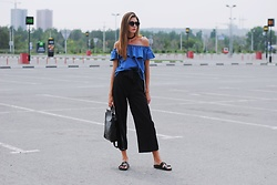 Yulia Sidorenko - Off The Shoulder Top, Cullote Pants, H&M Sandals, Zaful Bag - Zaful backpack