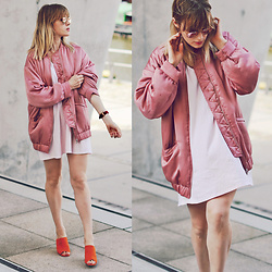 Vicky W - Mango Rose Bomber Jacket, Asos Rose Dress, New Look Orange Mules, Ray Ban Sunglasses - THROUGH ROSE-TINTED GLASSES