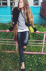 Alla Dolzhenko - Hand Made Jacket With Fur, H&M Sweater, Tvoe T Shirt, H&M Leather Pants, Tulipano Balerina Flat Shoes, Bag Fake Chanel 2.55 - August, near-here!