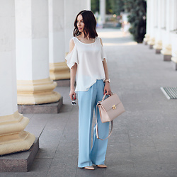 Sonya Karamazova -  - WIDE LEG PANTS AND COLD SHOULDER
