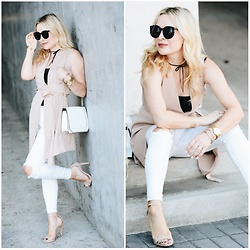 Zia Domic - Missguided Beige Vest, Free People White Jeans - Neutral Territory