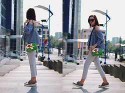 Andreea Birsan - Poppy Lovers Gingham Off Shoulder Top, Zaful Sunglasses, Zara Scarf, Zara Grey Trousers, Nude Platform Shoes, Musette Green Crossbody Bag - Gingham off shoulder top & grey trousers