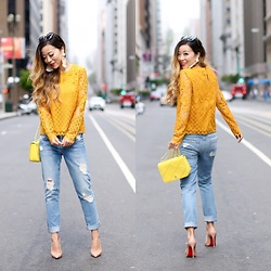 Sasa Zoe - Lace Top, Earrings, Jeans, Bag, Heels - GOLDEN LACE