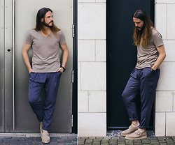 Maik - Wool & Co. T Shirt, Eduardo Rivera Trousers, Diesel Shoes, Kerbholz Watch - Everyday-look with muted colours