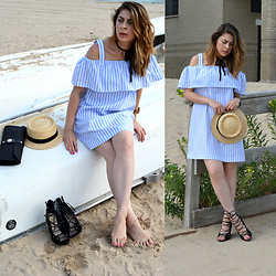 Fashionlingual, Desirée - Sheinside Dress, Wet Seal Wedges, Forever 21 Choker, Jord Wood Watches Watch - Beachy Cold-Shoulder Dresses