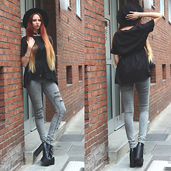 Liza LaBoheme - Black Drawstring Blouse, H&M Distressed Jeans, Cuff Bracelet - ...and your face nowhere in the crowd