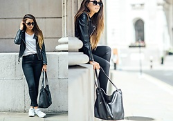 Jessica Sheppard - Triwa Round Sunglasses, Jack Wills White Tee, Allsaints Hylands Leather Jacket, Jack Wills High Waist Skinny Jeans, Nike White Roshe One, Radley Willow Tote - STAPLE HANDBAG