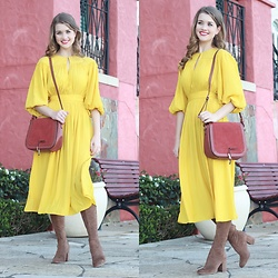Heidi Landford - Country Road Yellow Midi Dress, Mimco Suede And Leather Shoulder Bag, Wittner Brown Suede Boots, By Charlotte Gold Threads - Going Home