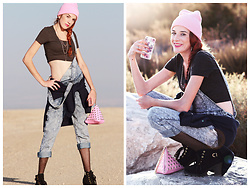 Rose Pendleton - Forever 21 Pink Chain Necklace, Target Floral Phone Case, Black Lace Up Boots, Pink Rivet Triangle Handbag, Forever 21 Blue Overalls, Falla's Gray Crop Top, Target Sweatshirt, Dollar Store Pink Beanie - Illuminati Barbie