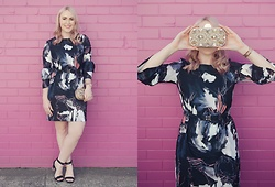 Ashleigh McCallum - Cooper St On My Own Long Sleeve Dress, Wittner Otto Heel, Mimco Sparkly Clutch - Tickled Pink