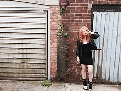 Darcie Hewitt-Dudding - Missguided Black Dress, Ark Clothing Studded Leather Jacket, Dr. Martens Marceline Boots, Killstar Socks, Alexander Mcqueen + V&A Grey Skull T Shirt - Marceline