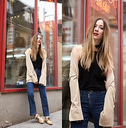 Gabrielle Lacasse - Marc Cain Suede Coat, Paige Denim Cropped Flare Jeans, Bed Stu Loafers, Ardene Choker - Cropped Flare in Chinatown