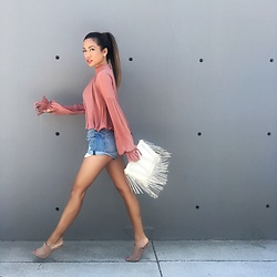 Jessi Malay - F21 Blouse, Grlfrnd Denim Slouchy Shorts, Tony Bianco Kitzy Mules In Powder Kid Suede - Walking On Air | #ootd